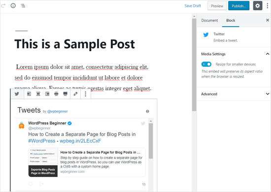 Twitter Profile Embedded in WordPress Post