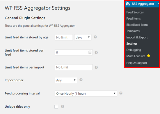 WP RSS Aggregator Settings