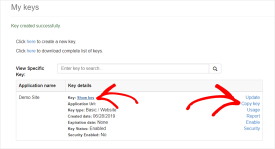 Bing Maps API Key Created