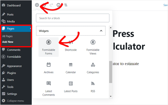 Add Formidable Forms Block in WordPress Page Editor