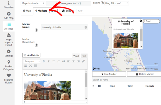 Add new Marker for Bing Map in WordPress