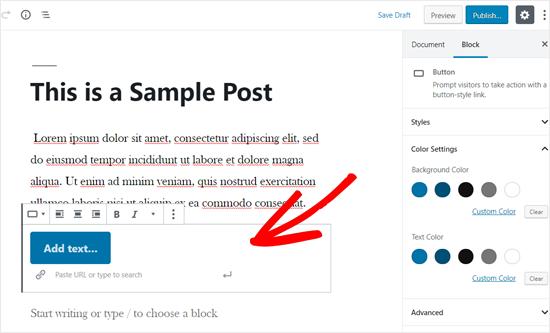 Button Block Added to WordPress Post Editor