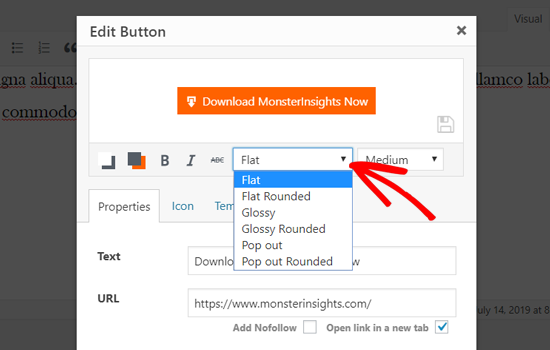 Choose a Button Style in Classic WordPress Editor