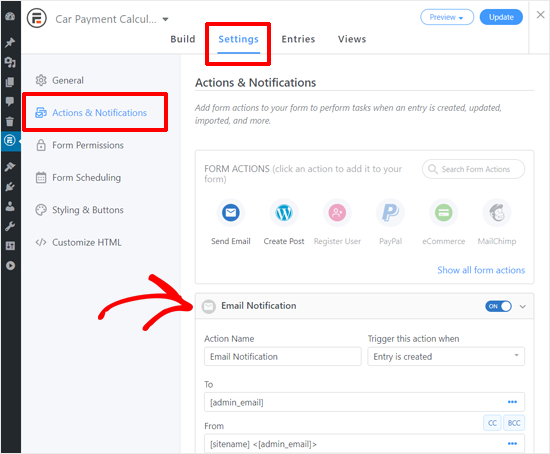 Car Payment Calculator Form Notification Settings