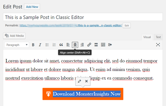Center Align Your Button in Classic Editor