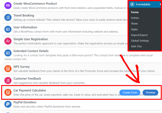 Choosing Car Payment Calculator Form Template in WordPress