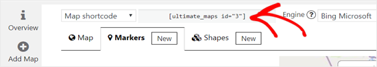 Copy Bing Map Shortcode to embed in WordPress