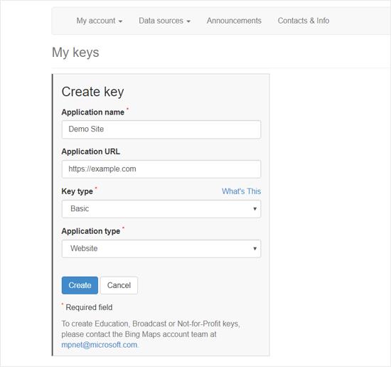 Create Bing Map API key to Embed in WordPress