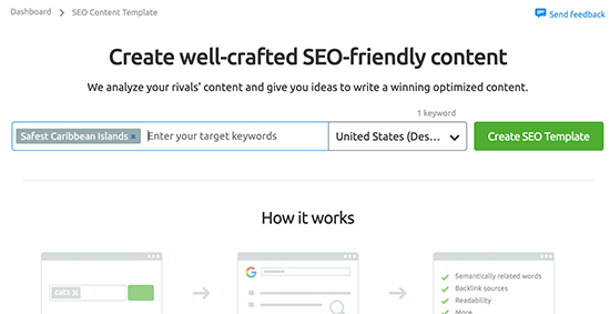 Creating SEO content template for an article