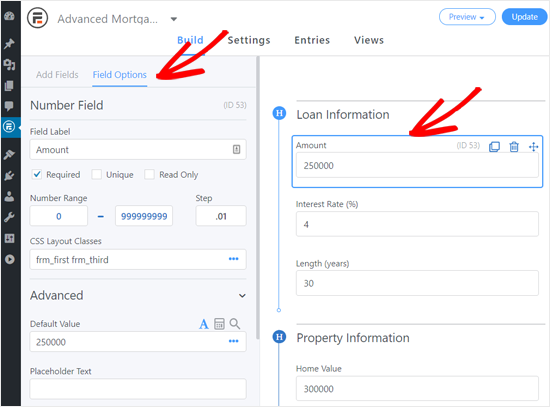 Customizing Field Options in Advanced Mortgage Calculator Form