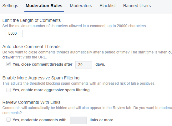 FB Comments moderation rules