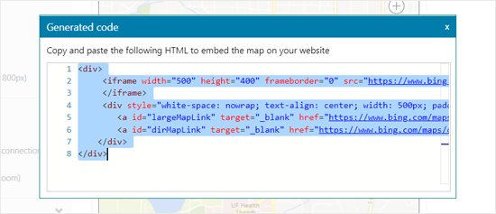 generated Embed Code for Bing Maps