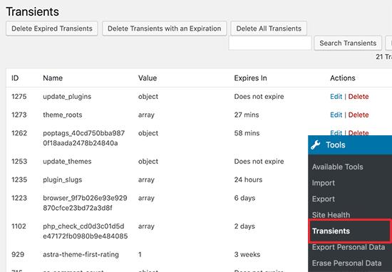 Managing transients in WordPress