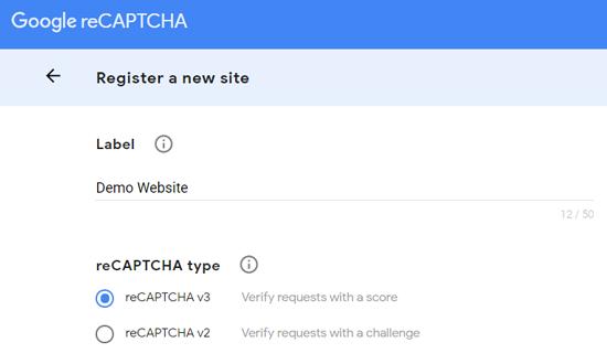 Register a New Site for Google reCAPTCHA