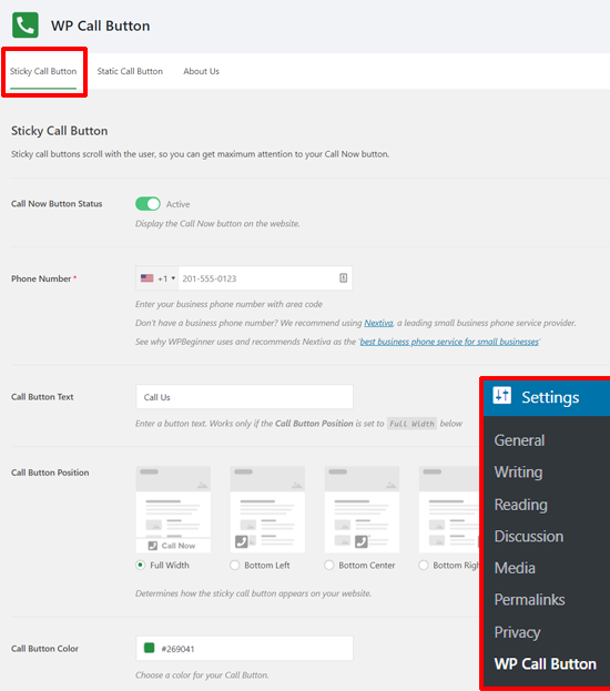 Sticky Call Button Settings in WordPress