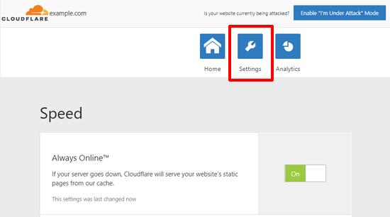 Cloudflare for WordPress Settings