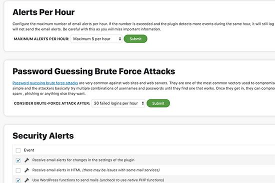 Customize Sucuri email alert notifications
