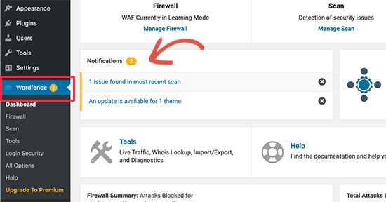 Dashboard notifications in Wordfence