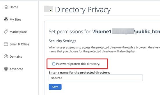 Disable password protection