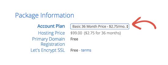 Select plan duration