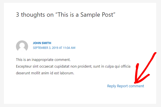Report Comment Option on WordPress Comments