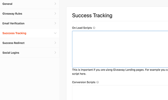 Add tracking codes