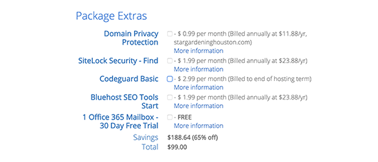 Uncheck package extras
