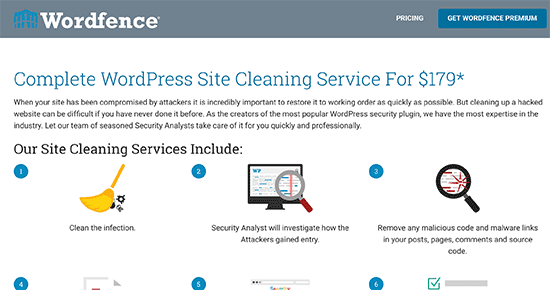 Wordfence site cleanup service