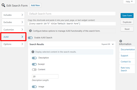 Ivory WordPress Search Bar AJAX Settings
