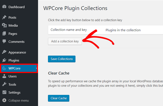 Add Collection key on WPCore Plugin Manager Plugin
