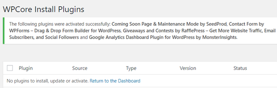 All Plugins Activated Message on WordPress with WPCore