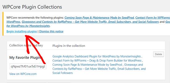 Click Begin Installing Plugins Option on WPCore