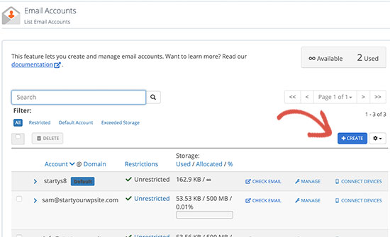 Creating a new email account in Bluehost