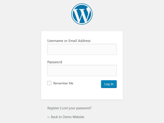 Default WordPress Login Page