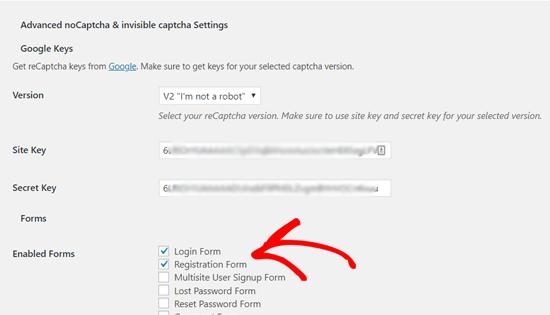 Enable reCAPTCHA for Default WordPress Login and Registration Form