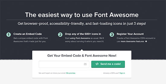 Get Font Awesome embed code