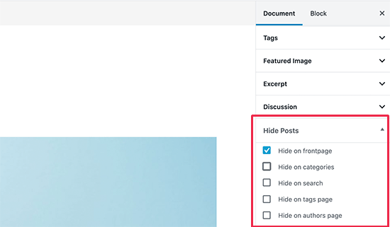 Hide posts settings