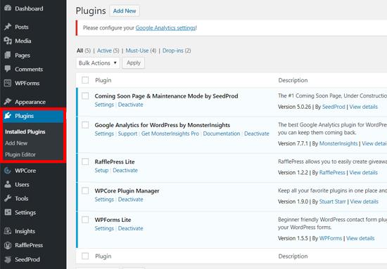 Installed Plugins Page in WordPress
