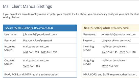 Manual mail settings