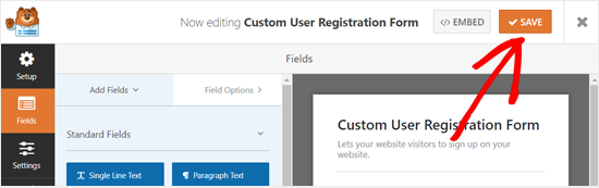 Save Your Custom User Registration Form