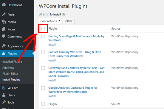 Select All Plugins to Bulk Install on WordPress with WPCore