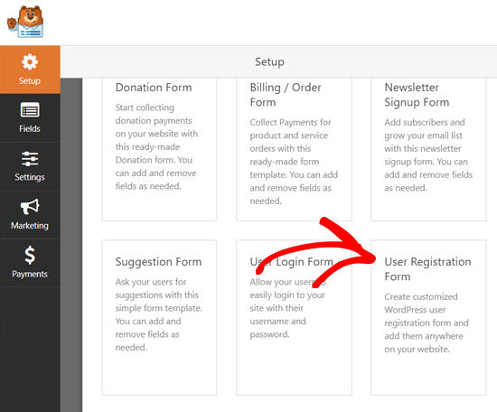 Select User Registration Form Template WPForms
