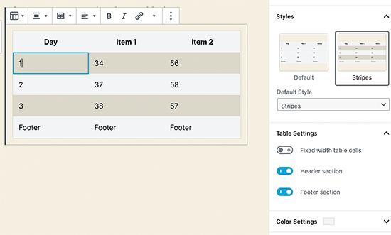 The new table block in WordPress 5.3