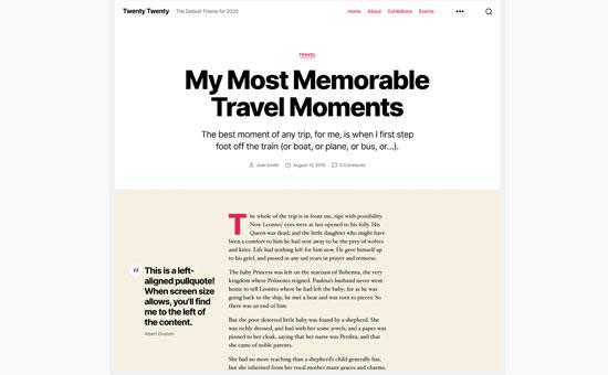 Blog post layout in Twenty Twenty