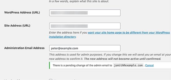 Verify admin email address