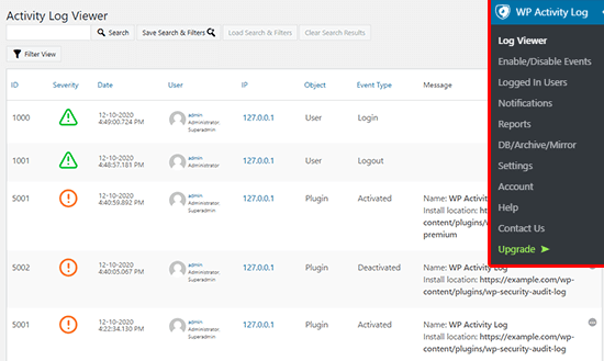 WordPress activity log viewer to monitor events