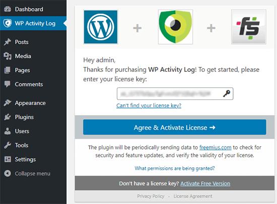 enter your license key to start using WP Activity Log plugin