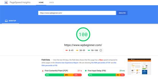 WPBeginner Google Page Speed Test