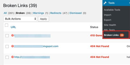 Broken Links Report in WordPress