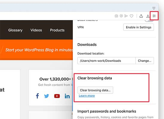 Opera clear browsing data